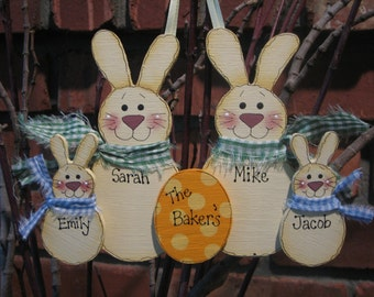 Personalized Bunny Family Decoration - Families of 2 to 6