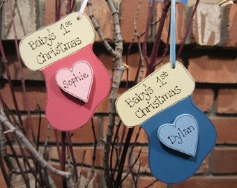 Personalized Baby's First 1st Christmas Ornament - baby girl and baby boy