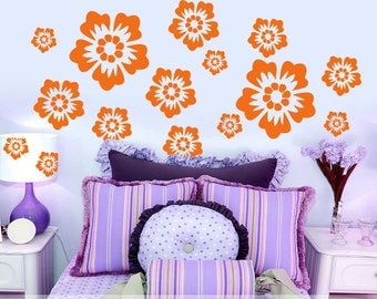 Vinyl Wall Decals Etc: Flower Power Room Decor, Orange Floral Pattern Blossoms, DIY Home Bedroom Decor