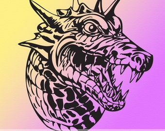 Monster Vinyl Wall Decal Fantasy Dragon Head DR092