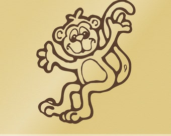 Happy Jumping Monkey Decal Vinyl Wall Sticker for Baby Nursery or Childs Bedroom C002, Chimp