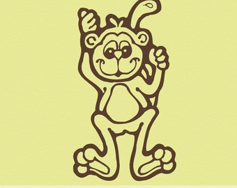 Monkey Vinyl Wall Decal B006, Climbing Chimp