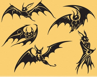 Vinyl Wall Decal: Five Spooky Gothic Black Bats are Not Just for Halloween Decorations