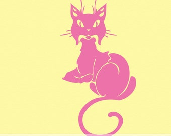 Sitting Cat Vinyl Wall Decal CT007