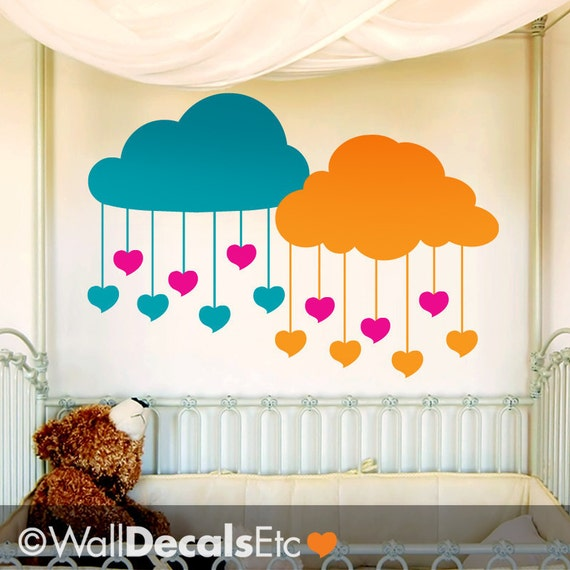 Clouds Raining Hearts Vinyl Wall Decals in by WallDecalsEtc