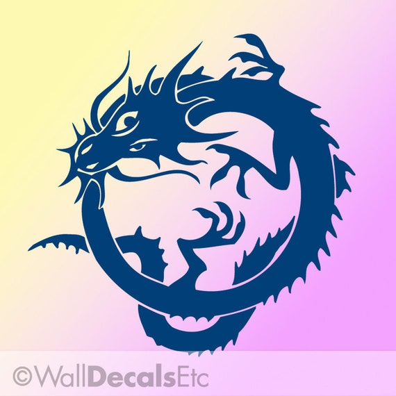 Chinese Dragon Wall Decal Decoration for Year of the Dragon, Uroboros Fantasy Style, DYI Home Decor CDR029
