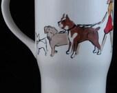 Personalized Dog Lover Gift, Custom Dog Walker Travel Mug, Platter or Dog Treat Jar. You and your dog are painted onto a ceramic travel mug