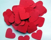 100 Die Cut Hearts - Crimson Red
