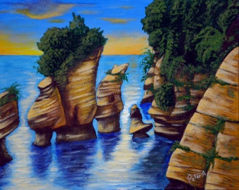 Bay of Fundy Rocks, Original Acrylic Painting 16 x 20