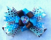 Minnie Mouse Hairbow- Chocolate Brown and Turquoise Blue