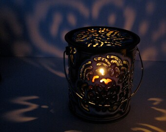 Lacy Torched Metal Pail Luminaria with Lid