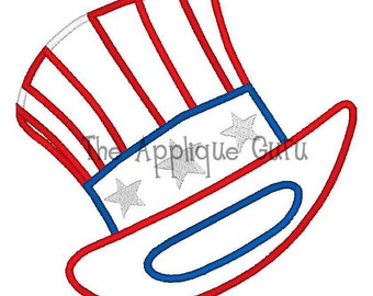 Uncle Sam Hat  -- Machine Applique Embroidery Design