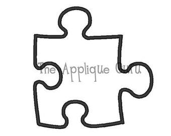 Puzzle Piece Applique Machine Embroidery Design
