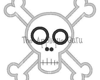 Pirate Skull Crossbones Applique Machine Embroidery Design