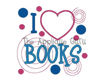 I Love / Heart Books  --  Machine Embroidery Design