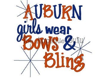 Auburn Girls Wear Bows & Bling -- Machine Embroidery Design