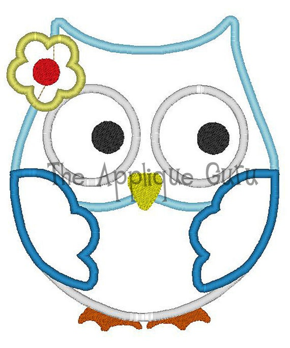Girl Owl Applique Machine Embroidery Design