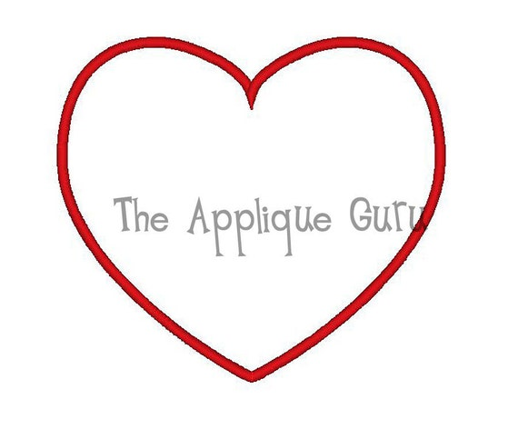Simple Heart  Applique Machine Embroidery Design
