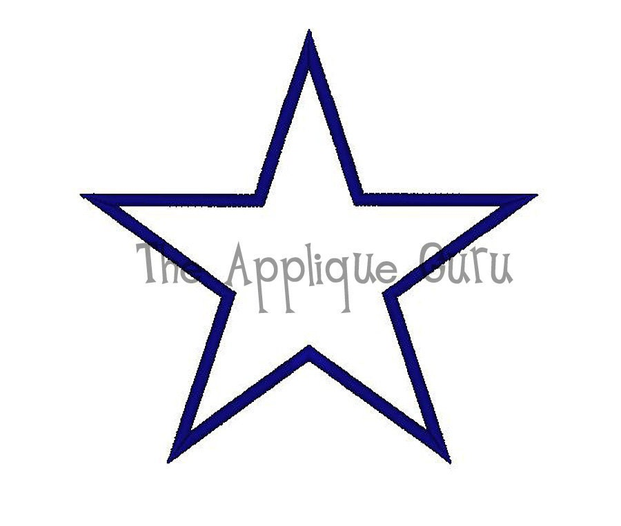 Simple star applique machine embroidery design