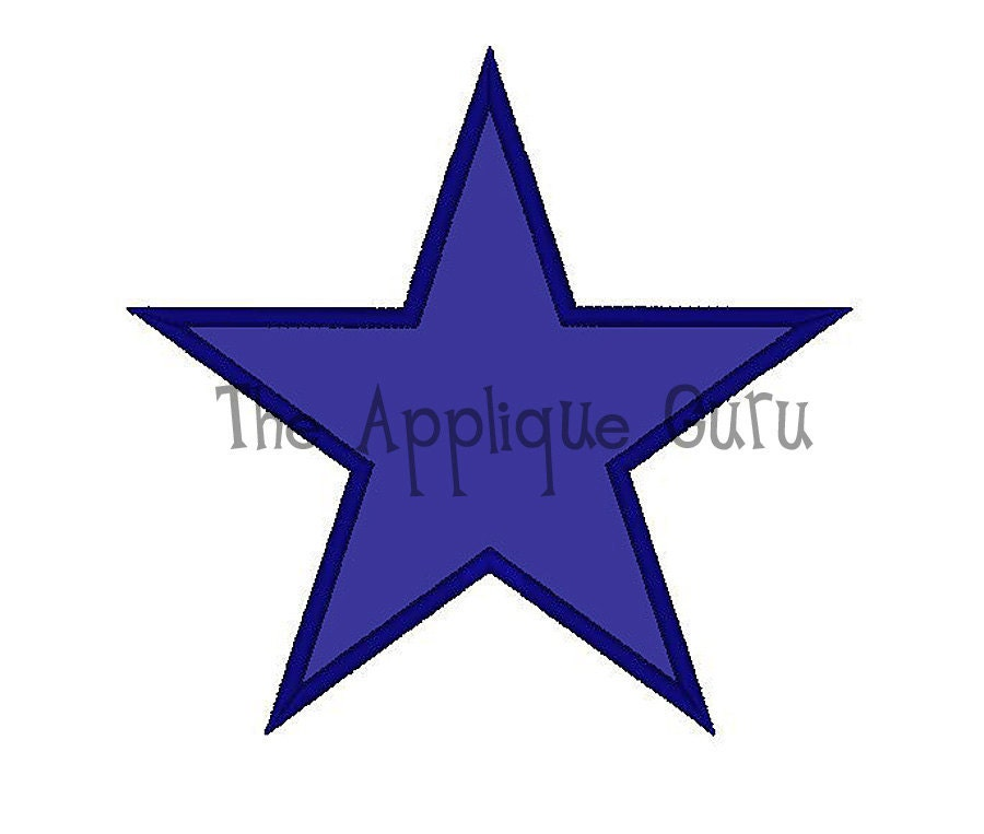 Simple star applique machine embroidery design from