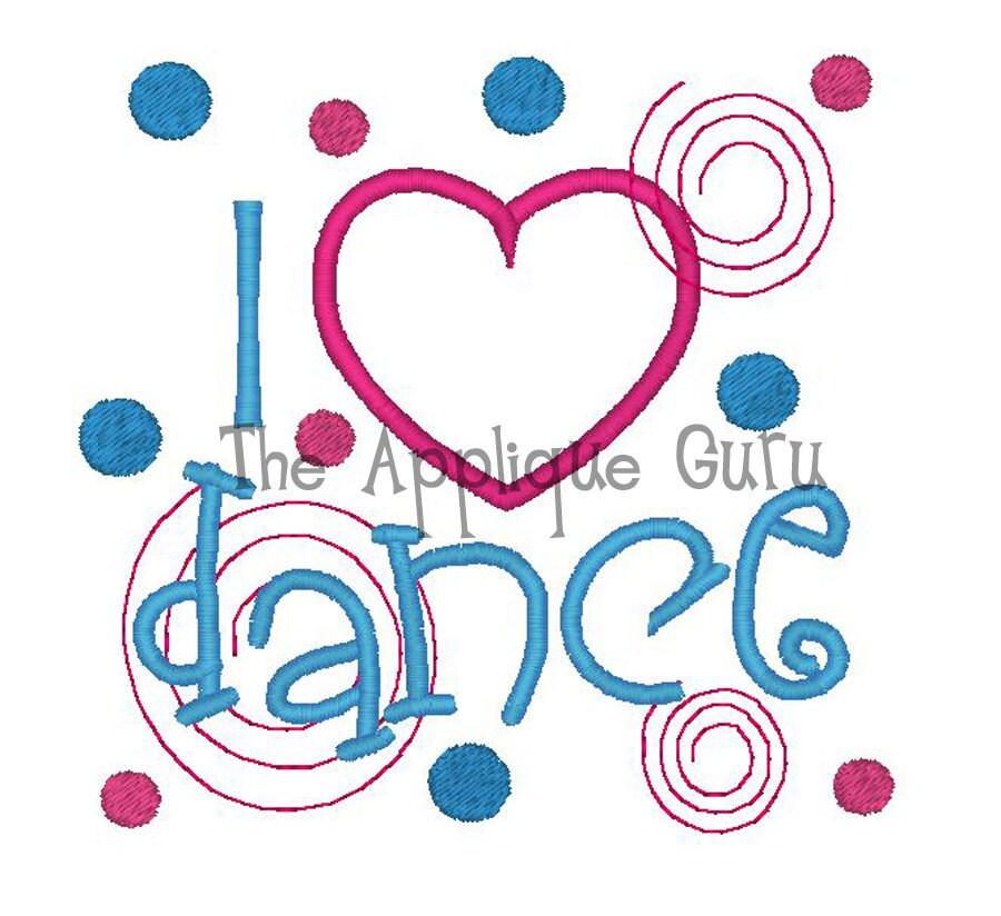 I love heart dance machine embroidery design for I love to design