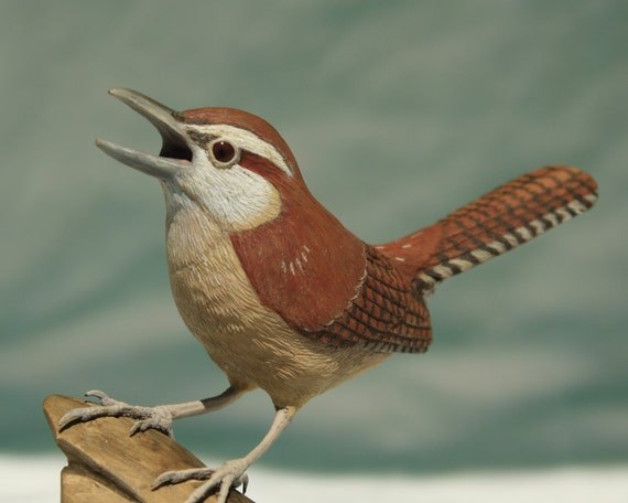 Carolina Wren Wood Sculpture, Hand Carved Out of Wood