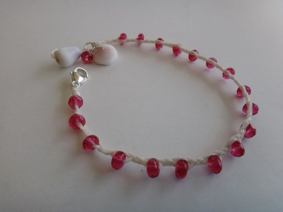 Woven Czech Crystal Bracelet with Shells