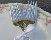 Antique WEDDING Forks Hand Stamped Mr. and Mrs. Forks - Cake Forks - WOODLAND ROSE 1955 - Vintage Wedding, Bride and Groom Silverware
