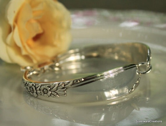 Vintage Silverspoon Bracelet - Endearable 1954 - Silverware Jewelry, Spoon Bracelet - STERLING SILVER CLASP - Spoon Jewelry, Bridesmaid Gift