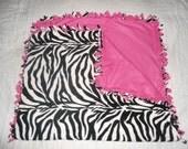 Medium Sized Child/Teen Zebra Print with Hot Pink back no sew fleece blanket