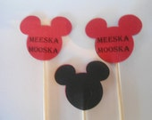 "12 Red ""Meeska Mooska"" Mickey Mouse Toothpick Cupcake Cookie Party Toppers- Double Sided Picks- Black Back"
