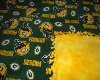 """Child/Baby Size Green Bay Packers fleece lap blanket, no sew with yellow back 30"""" x 60"""" NFL Football Baby Packer Fan Hand Tied Blankets"""