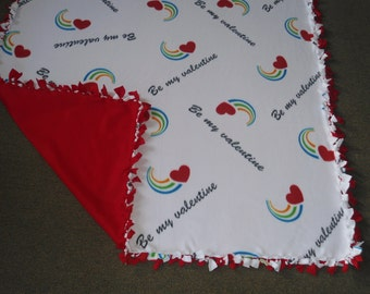 "Large, Adult Size Love Blanket, ""Be My Valentine"" no sew fleece with red back 60""W x 72""L- Red Hearts and Rainbows"