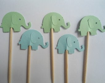24 Blue and Green Elephant Toothpicks- Double Sided Card Stock- Party Picks, Cupcake Toppers, Baby Shower Decorations