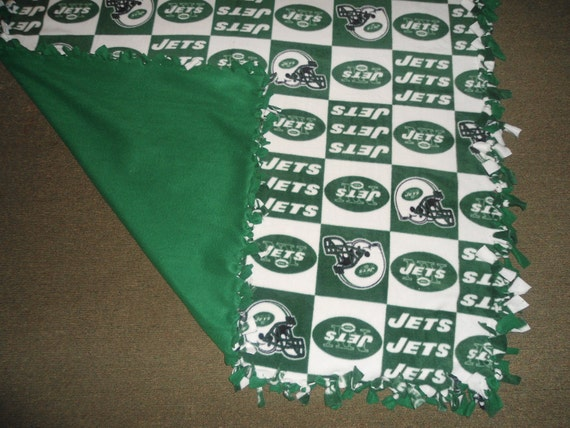 "Large, Adult Size NY JETS fleece no sew blanket with green back, (60"" x 72"")"