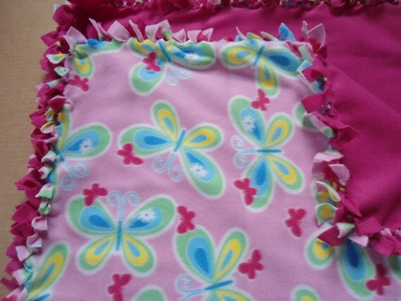 """Baby/Child Sized Pink Butterfly Blanket with Fuscia Pink Back no sew fleece blanket (36"""" x 60"""")"""