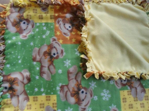 "Child/Baby Sized Teddy Bear No Sew Fleece Blanket with Yellow Back- 1 yard (36"" x 60"") Green, Yellow, Orange Unisex"