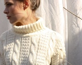 Cream Cable Knit Turtleneck Sweater