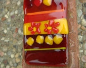 Red & Yellow Glass Wall Hanging with Flowers