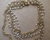 Vintage Pearl and Gold Chain Necklace