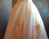 1950s Prom Dress/ Lemon Yellow Tulle Dress