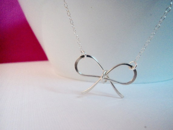 Little Silver Bow Necklace, Sterling Silver Bow, Sweetheart Bow