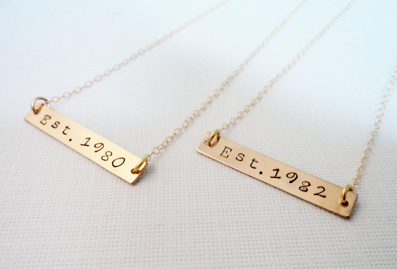 personalized gold bar necklaces best friend necklaces. Black Bedroom Furniture Sets. Home Design Ideas
