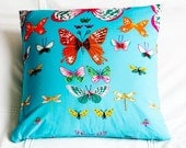 Pillow Cover - Turquoise Butterflies