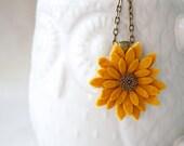 Sunflower Pendant, Yellow Felt Flower Pendant, Flower Necklace