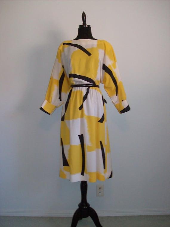 Vintage 1980 Dress  XXL yellow black and white I. Magnin plus size