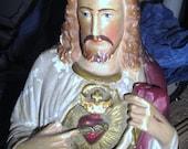 The Sacred Heart Of Jesus.........Come to Me .....Chalkware Sacred Heart With Stigmata