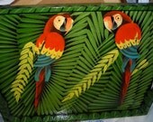 Vintage Tray / Tropical Paradise Parrots  Wood Tray / Home Decor / Lacquered Wood Tray / Hand Painted