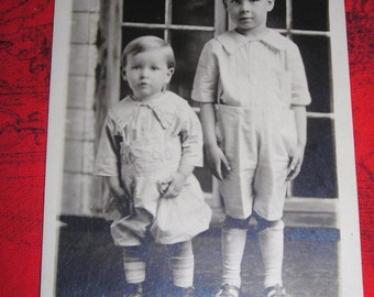 Me  And My Brother In Short Pants / Post card  Photo / Knee Socks and Button Shoes  / July 14 , 1921