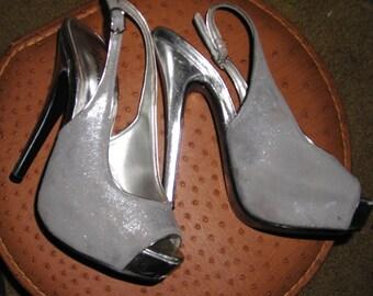 Sassy Silver Spike Heeled  Slingback Shoes